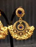Earrings 4555 Golden Blue Jewelry Indian Designer Pearls Earrings Shieno Sarees