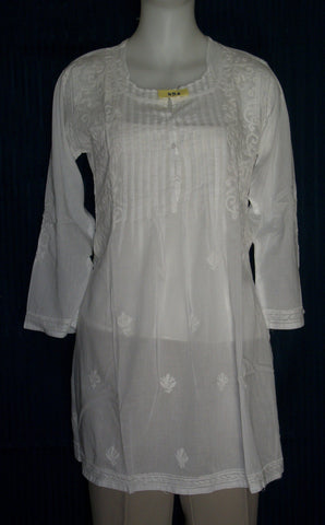 Blouse 456 White Cotton Embroidered Tunic Top Kurti Small S Size