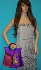 Hand Bag 4628 Clutch Purple Hand Bag Indian Designer Shieno Sarees