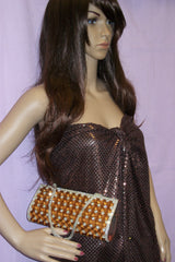 Clutch 4630 Copper Gold Indian Designer Purse Clutch Shieno Sarees