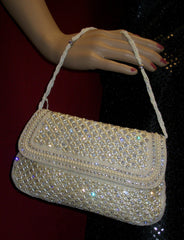 Clutch White 4633 Indian Designer Bejeweled Purse Shieno Sarees