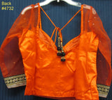 Choli 4732 Orange Net/Satin Medium Size Choli Saree Blouse