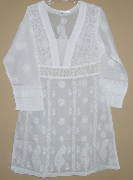 Blouse 475 White Cotton Embroidered Tunic Top Kurti Medium M Size