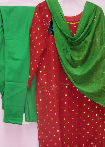 Suit 4762 Red Georgette Kameez Small Green Churidar Suit Shieno