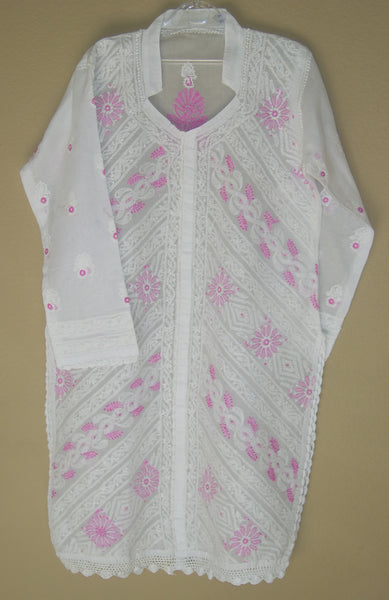 Blouse 479 White Cotton Embroidered Tunic Top Kurti Medium M Size
