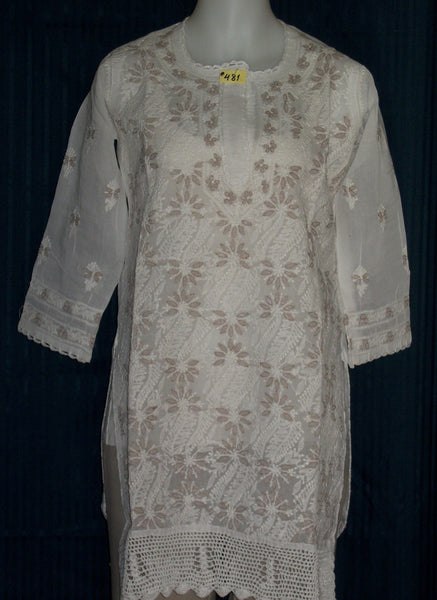 Blouse 481 White Cotton Embroidered Tunic Top Kurti Medium M Size