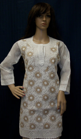 Blouse 482 White Cotton Embroidered Tunic Top Kurti Shieno