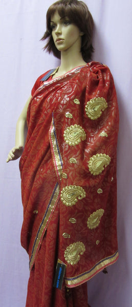 Saree 4929 Readymade Red Chiffon Gold Detail Pre Stitched Sari For Women