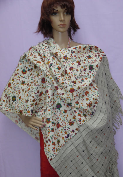 Shawl 5153 Ivory Pashmina Angora Kashmiri Winter Wear Wrap Shieno