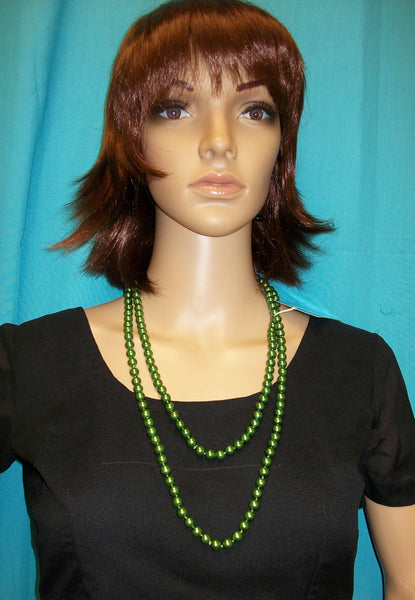 Pearls 517 Pearl Green String Necklace Indian Jewelry Shieno San Francisco Bay Area