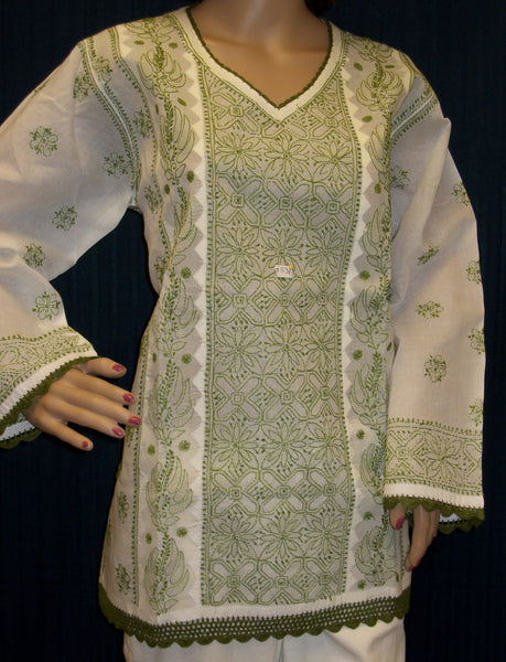 Blouse 053 White Cotton Hand Embroidered Tunic Top Kurti Medium Size