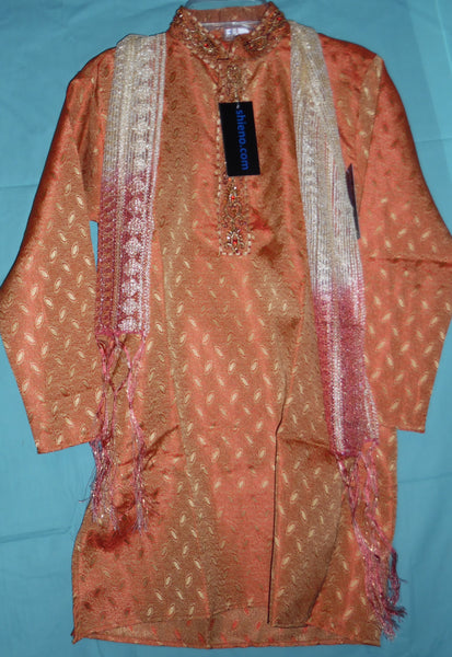 Boy's Kurta 5324 Orange Brocade Kurta Pajama Dupatta Scarf