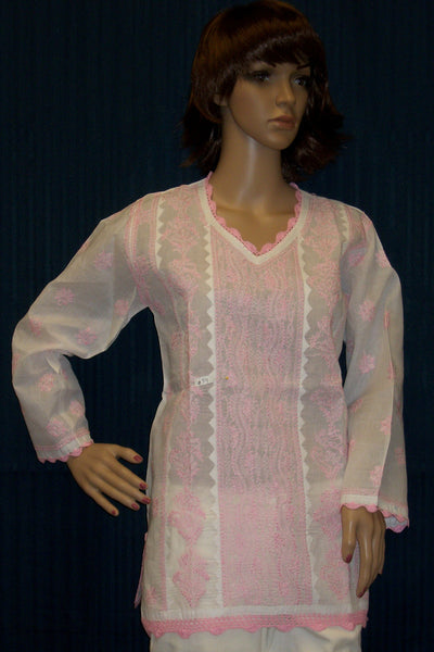 Blouse 054 Cotton White Pink Hand Embroidered Tunic Top Kurti Size Medium