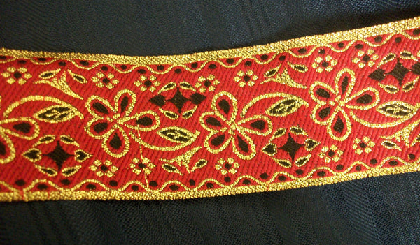 Trim 540 Red Golden Black Ribbon Lace Trim Craft Shieno Sarees Dublin