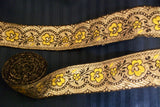 Trim 541 Yellow Black Golden Ribbon Lace Trim Craft Shieno Sarees
