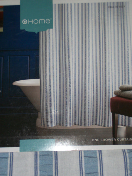 Shower Curtain 544 Blue Seersucker stripes fabric Shower Curtain Shieno