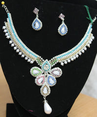 Necklace Set Polki 5494 Indian Designer Silver Necklace Shieno Sarees Pleasanton