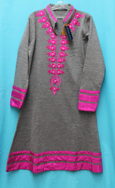 Kurti 5528 Gray Knitted Cotton Shirt Blouse Winter Wear Large Size