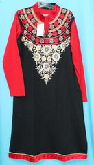 Blouse 5530 Black & Red Shirt Kurti Winter Wear Large Size