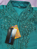 Men's Kurta 5547 Peacock Green Guru Kurta Indian Designer Shieno Sarees