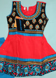 Girl's Anarkali 5554 Red Blue Anarkali Churidar Suit Shieno Sarees