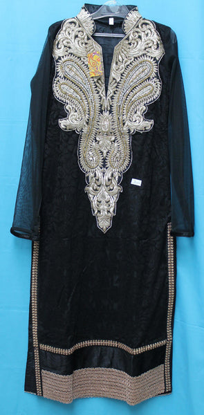 Suit 5571 Black Net  Medium Size Straight Long Kameez Churidar Dress Shieno