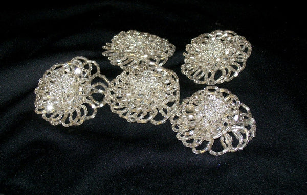Silver Beaded Flowers