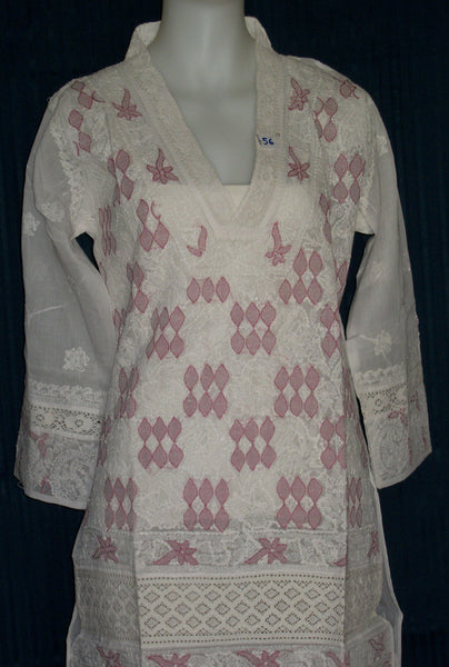 Blouse 056 Cotton Organdy White Hand Embroidered Tunic Top Kurti Medium Size