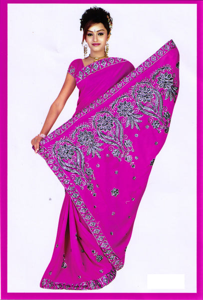 Saree 577 Pink Georgette Party Wear Sari Shieno Sarees