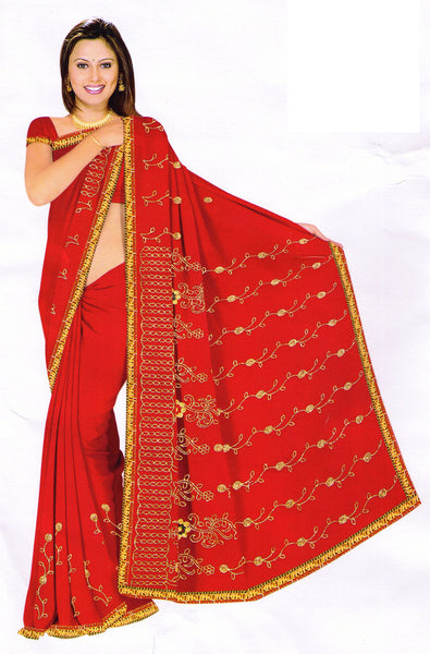 Saree 579 Red Chiffon Party Wear Sari Shieno Sarees
