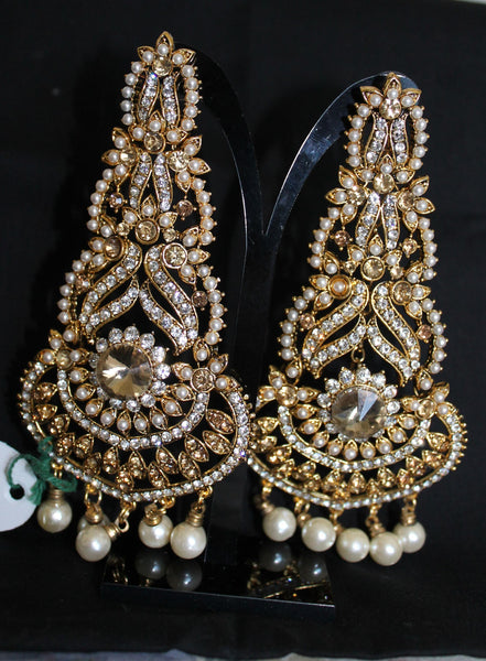 Earrings 5828 Golden Polki Indian Amateur Jewelry Shieno Sarees