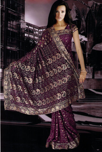 Saree 583 Burgandi Chiffon Party Wear Sari Shieno Sarees