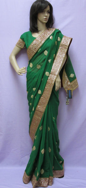 Saree 5905 Green Georgette Designer Wedding Sari Shieno Sarees