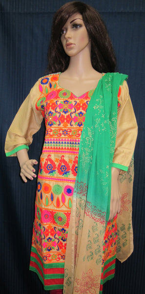 Suit 5908 Vibrant Colors 3 Pieces Heavy Embroidered Churidar Suit