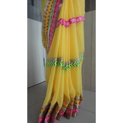 Saree 5962 Yellow Chiffon Silver Gold Pink Green Bollywood Party Wear Shieno Sarees