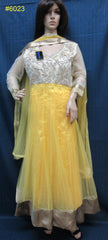 Dress 6023 Yellow Net Flared Long Tunic Gold Detail Set