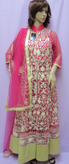Dress 6024 Pink Flared Long Gold Gota Cocktail Wear Shieno Sarees