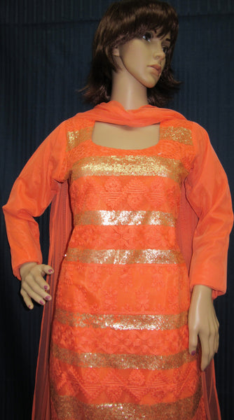 Tunic 6027 Orange Churidar Cocktail Wear Dress Shieno Sarees