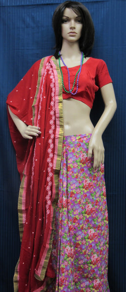 Lehenga 6030 Fuchsia Red Cotton Floral Indian Lehenga Choli Shieno Sarees