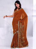 Saree 606 Mustard Orange Chiffon Party Wear Sari Shieno Sarees