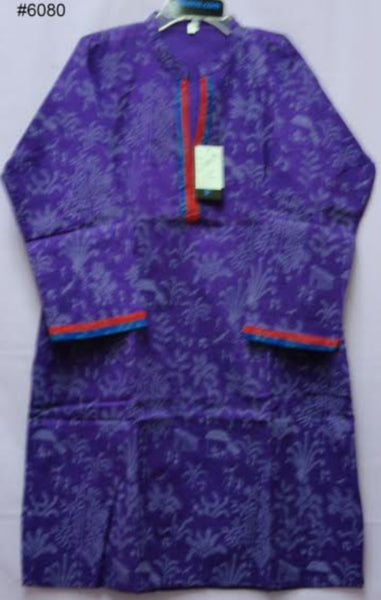 Blouse 6080 Purple Printed L Cotton Tunic Top 3/4 Sleeve Career Kurti Shieno