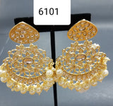 Earrings 6101 Golden Crystals Pearls Earrings Pair Shieno