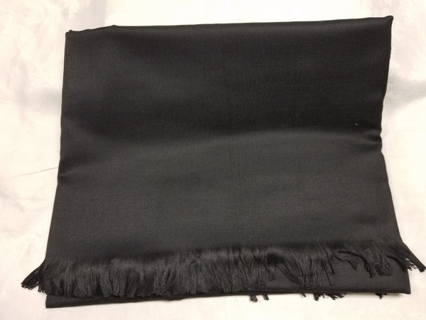 Shawl 6125 Black Solid Ribbed Winter Wear Kashmiri Shawl Wrap