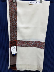 Shawl 6127 Ivory Solid Ribbed Winter Wear Kashmiri Shawl Wrap