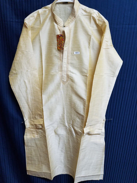 Men's 6213 Beige Tussar Kurta Pajama Set Size Small