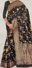 Saree 6335 Black Banarsi Silk Finish Golden Zari Cocktail Saree