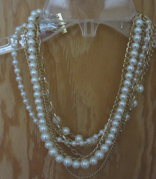 Necklace 634 Golden Chain Strings Pearl Strings