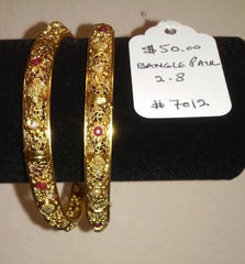 Bangles 7012 Golden Bangles with Red and Clear Stones