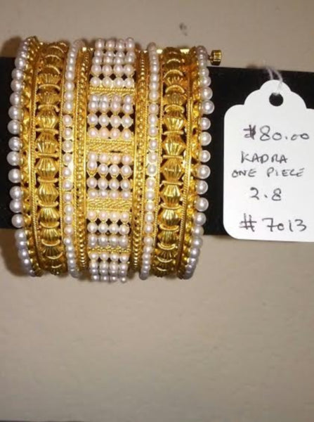 Bangles 7013 Golden Kadra with Pearl Beads