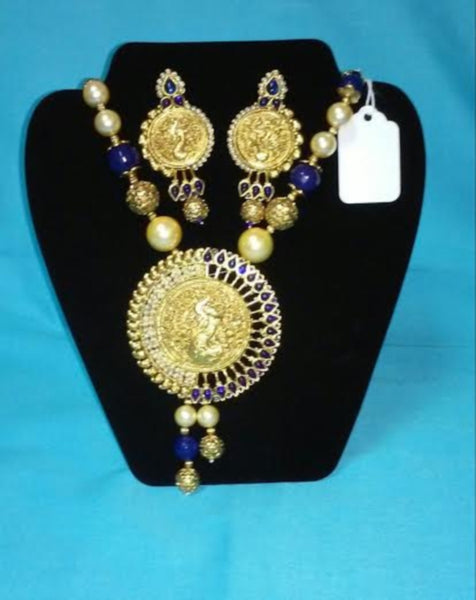 Necklace Set 7018 Peacock Golden Blue Effect Necklace Set